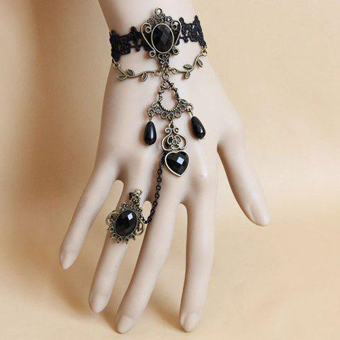 Chic Beaded Hollow Pendant Lace Charm Bracelet With Ring