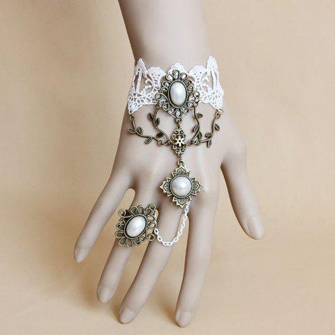 Buy Faux Pearl Embellished Charm Lace Bracelet With Ring - ONE SIZE AS THE PICTURE Mobile