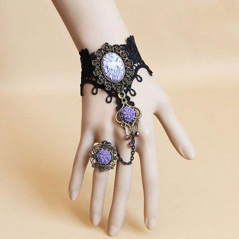 Latest Flower Lace Charm Bracelet With Ring - ONE SIZE AS THE PICTURE Mobile