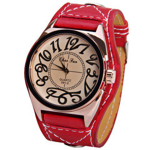 Unique Quartz Watch with 12 Arabic Numbers Indicate Big Round Dial and Leather Watchband for Unisex