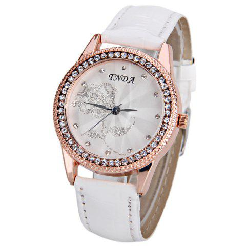 Outfits Quartz Watch with Diamonds Dots Hour Marks Rose Patterned Round Dial and Leather Band for Women