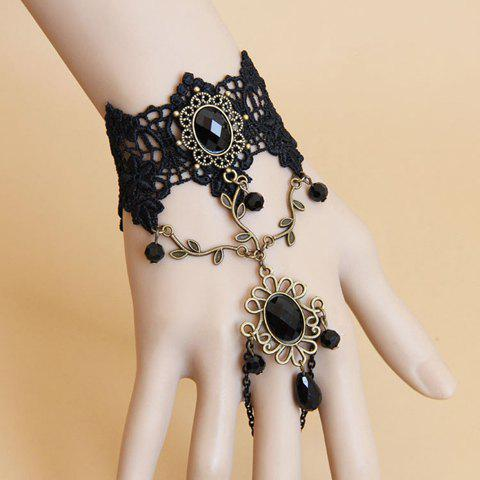 Sale Rhinestone Flower Hem Lace Bracelet With Ring - AS THE PICTURE  Mobile