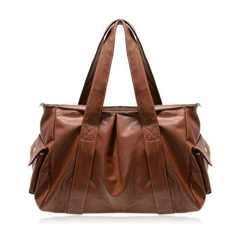 Trendy Retro Style Stitching and Solid Color Design Women's Shoulder Bag