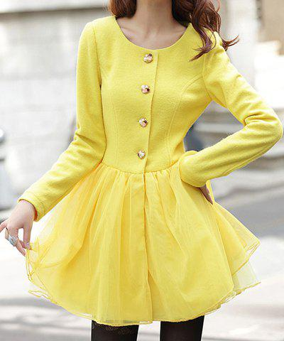 Outfit Ladylike Scoop Collar Solid Color Grenadine Splicing Single-Breasted Long Sleeves Women's Coat