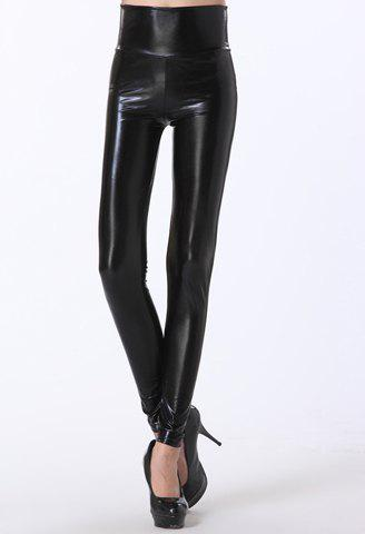 Fancy Simple Design Slimming Solid Color High Waist Women's PU Leather Leggings