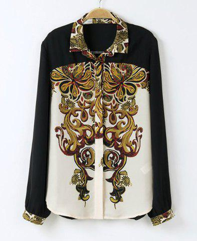 Online Vintage Polo Collar Floral Print Color Block Long Sleeves Women's Shirt