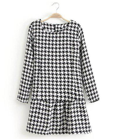 Shops Sophisticated Round Collar Houndstooth Pattern Long Sleeves Dress For Women