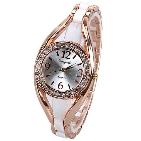 Best Quartz Watch Analog Indicate Diamonds Round Dial with Steel Watchband for Women WHITE