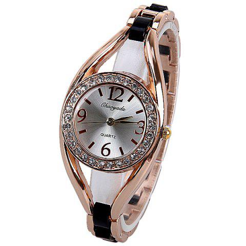 Fashion Quartz Watch Analog Indicate Diamonds Round Dial with Steel Watchband for Women
