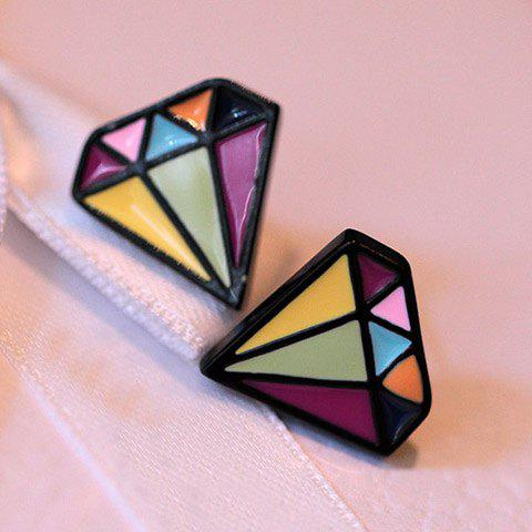 Pair of Ethnic Glazed Diamond Shape Earrings - AS THE PICTURE