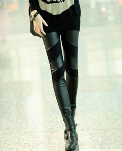 Cheap Straight Leg PU Leather Splicing Slimming Simple Design Solid Color Women's Leggings