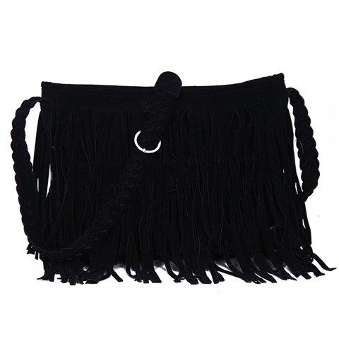 Latest Fashion Fringe and Weaving Design Women's Crossbody Bag - BLACK  Mobile