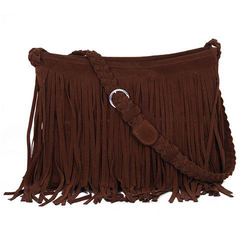 Outfit Fashion Fringe and Weaving Design Women's Crossbody Bag CAMEL