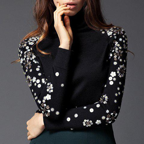 Hot Vintage Turtleneck Sequin Floral Pattern Long Sleeves Women's Sweater