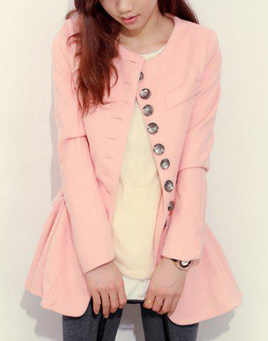 Sale Vintage Round Collar Flouncing Solid Color Long Sleeves Worsted Women's Coat