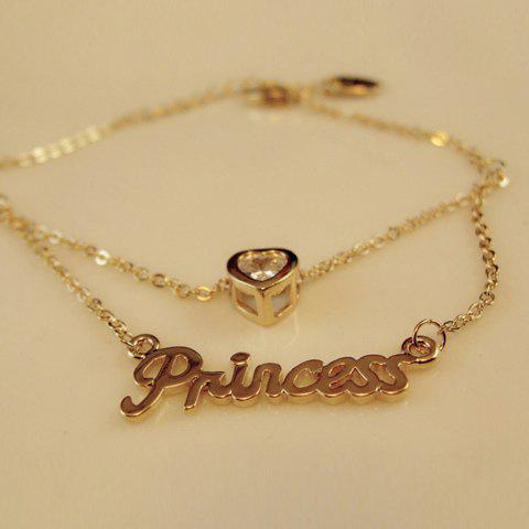 Trendy Rhinestoned Heart and Letter Shape Multi-Layered Alloy Necklace For Women