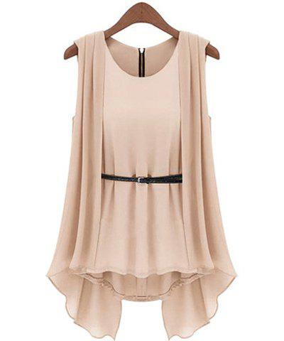 Chic Stylish Scoop Collar Solid Color Belted Irregular Design Sleeveless Women's Chiffon Blouse