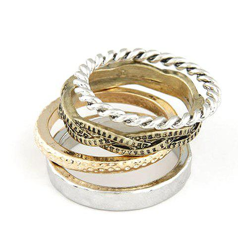 A Suit of Retro Twisted Round Rings - AS THE PICTURE ONE SIZE