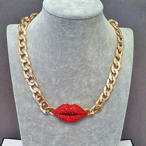 Exaggerated Red Diamante Lip Pendant Thick Alloy Necklace For Women - AS THE PICTURE