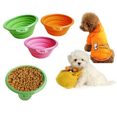 1PCS Protable Collapsible Silicone Pet Telescopic Bowl for Travel - Random Color - S