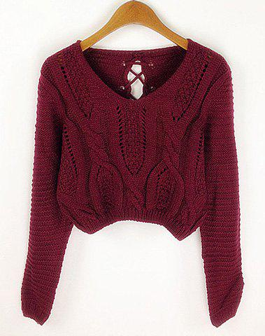 Best Long Sleeves V-Neck Cable Knit Openwork Dropped-Waist Sexy Women's Short Sweater