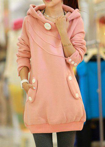 Trendy Casual Hooded Button Pocket Splicing Long Sleeves Thickened Loose-Fitting Women's Hoodie PINK ONE SIZE