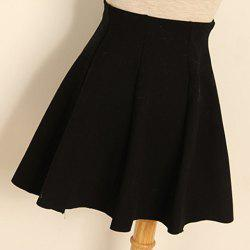 Pleated Solid Color Cotton Blend Casual Style Women's Skirt -