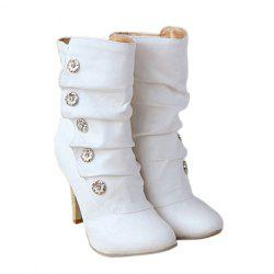 Casual Metal and Pleated Design Women's Short Boots - WHITE
