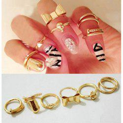 7PCS of Heart Bowknot Skull Round Nail Shape Knuckle Rings - AS THE PICTURE