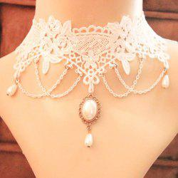 Lace Fake Pearl Pendant Necklace -