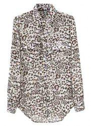 Stylish Turn-Down Collar Leopard Print Single-Breasted Long Sleeves Blended Women's Chiffon Blouse -