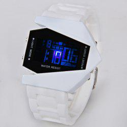 30M Waterproof Rubber Band 7-colors LED Watch with Numbers Hour Marks Bomber Shaped - WHITE