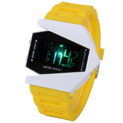 30M Waterproof Rubber Band 7-colors LED Watch with Numbers Hour Marks Bomber Shaped -