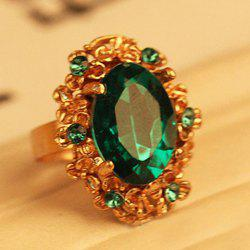 Rhinestone Embellished Oval Faux Gem Alloy Ring -