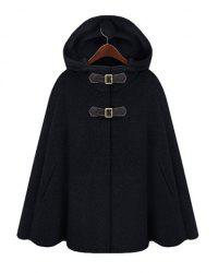 Fashion Hooded Solid Color Covered Button Embellished Cape-Style Women's Coat -