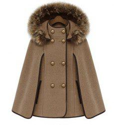 Trendy Detachable Hooded Cape-Style Worsted Solid Color Coat For Women -