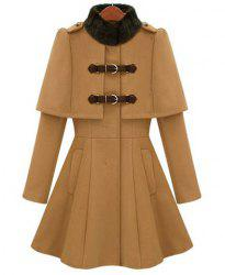 Ladylike All-Match Solid Color Stand Collar Faux Cappa Waisted Buckle Long Sleeves Coat For Women -
