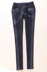 Vintage Hook Flower Hollow Out PU Leather Splicing Black Women's Pants -