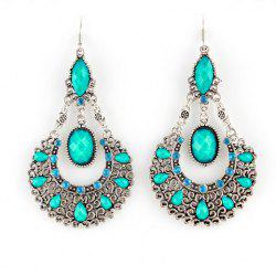 Bohemian Openwork Water Drop Shape Earrings - BLUE