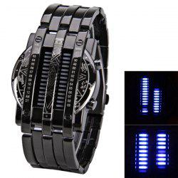 Steel Band LED Screen Watches with Blue Light Display Round Shaped -