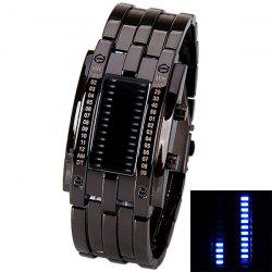 Waterproof Watch with Blue Light Time-Date Indicate Steel Watchband for Men - BLACK
