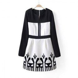 Trendy Round Collar Zipper Color Block Decorative Pattern Long Sleeves Dress For Women -