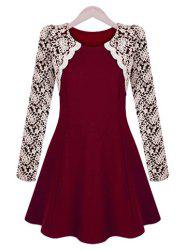 Sophisticated Round Collar Color Block Embroidery Lace Long Sleeves Pleated Dress For Women - WINE RED S