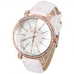 Japan Movt Quartz Watch with Five-Pointed Star Thin Strips Indicate Leather Watchband for Women -