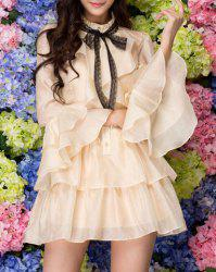 Sweet Stand Collar Ruffles Single-Breasted Butterfly Sleeves Dress For Women -