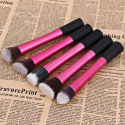 5PCS Professional Soft Cosmetic Face Brush Finishing Powder Brush Cylinder Brush Sets - PLUM
