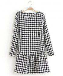 Sophisticated Round Collar Houndstooth Pattern Long Sleeves Dress For Women -