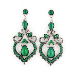 Pair of Bohemian Waterdrop Shape Faux Gem Beading Heart Earrings For Women -
