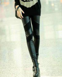 Straight Leg PU Leather Splicing Slimming Simple Design Solid Color Women's Leggings -