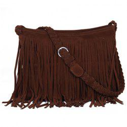 Fashion Fringe and Weaving Design Women's Crossbody Bag - CAMEL